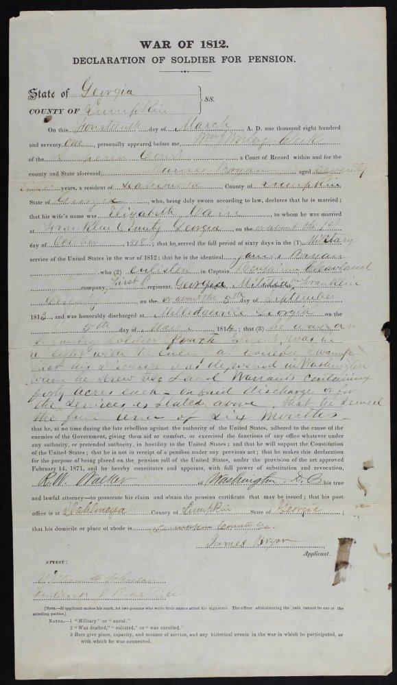 Week 47: November 22, 2014 – 52 Ancestor 52 Week Blog: James Bryan – War of 1812 (6/6)